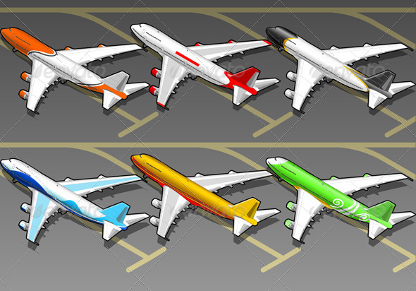 GraphicRiver Isometric Airplanes in Six Livery in Rear View 4880065