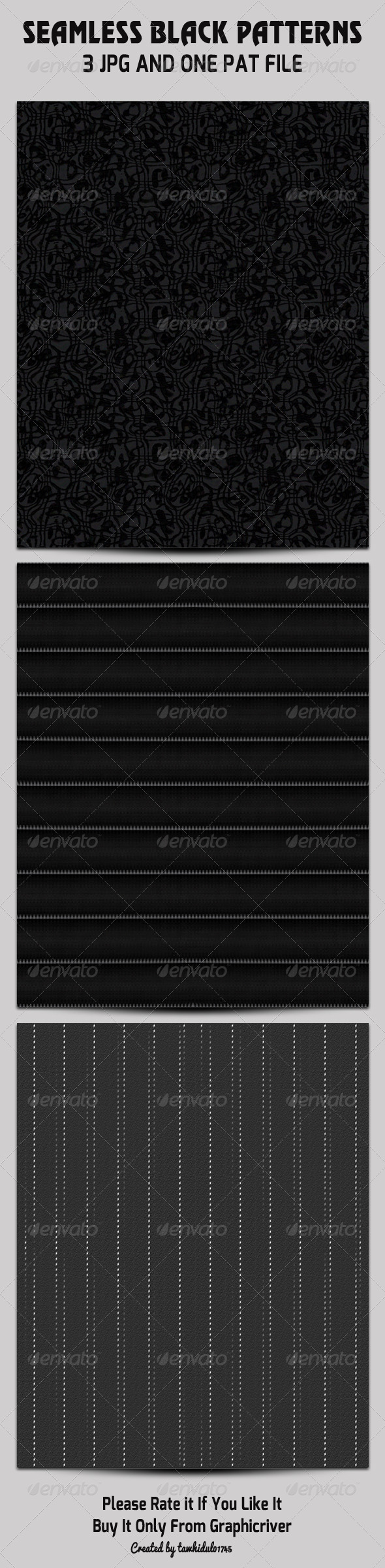 GraphicRiver Seamless Black Patterns Set 4880109