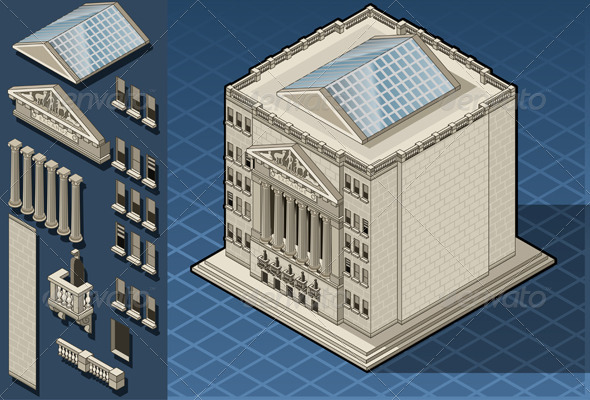 GraphicRiver Isometric Stock Exchange Building in New York 4880114