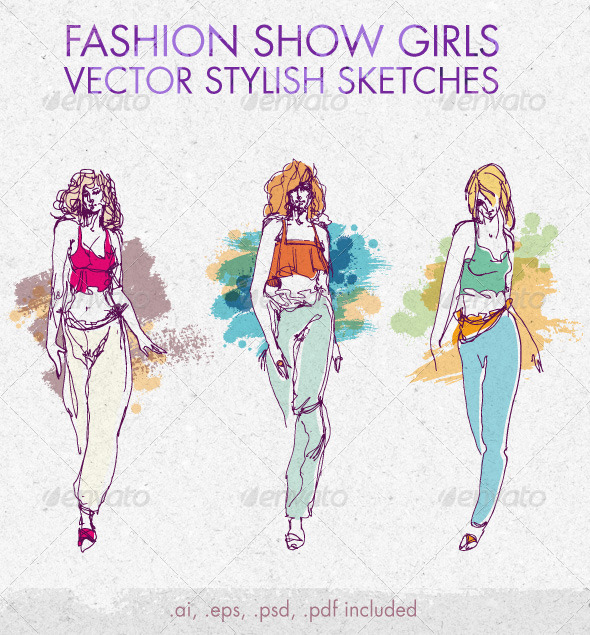 Fashion Show Girls Vector Stylish Sketches - People Characters