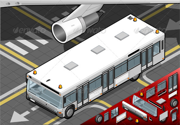 GraphicRiver Isometric Airport Bus in Front View 4880301
