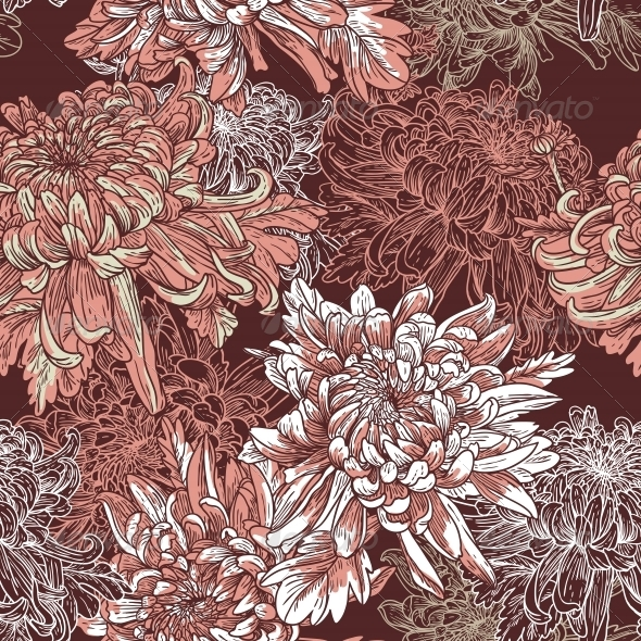 GraphicRiver Floral Background with Blooming Chrysanthemums 4880839