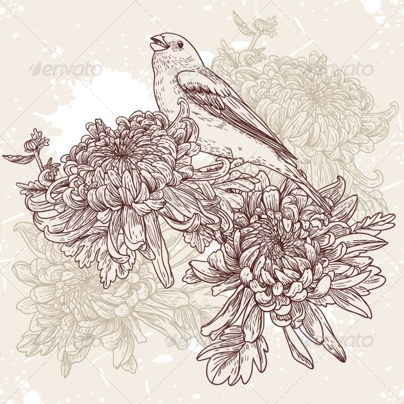 GraphicRiver Flowers with Bird Illustration 4880950