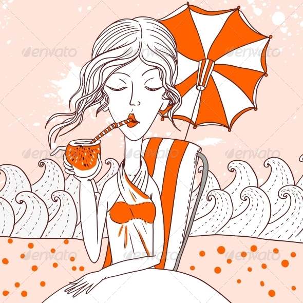 GraphicRiver Woman Drinking Coconut Cocktail 4880963