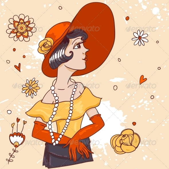 GraphicRiver Doodle Girl with Cocktail 4881029