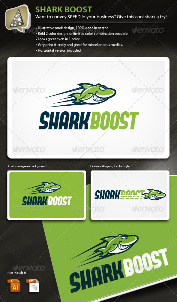 SharkBoost - Illustrative Mark for Speedy Business - Animals Logo Templates