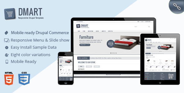 Dmart - Clean and Responsive Drupal Commerce theme - Drupal CMS Themes