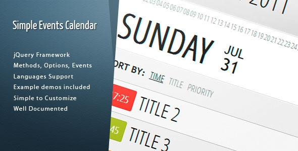 Simple Events Calendar JS - CodeCanyon Item for Sale