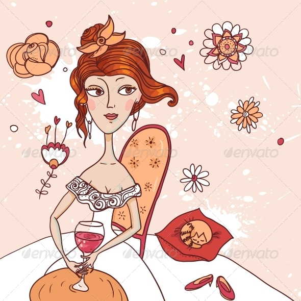 GraphicRiver Girl with a Glass of Wine in White Dress 4882217