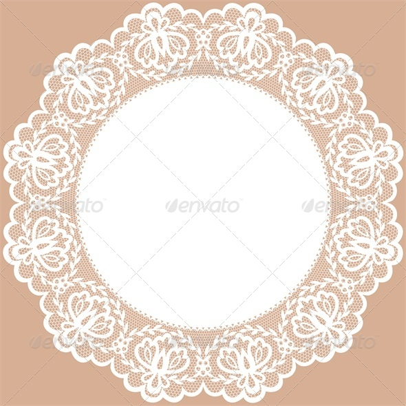 GraphicRiver Vintage Card with Lace Doily and Bow 4882228