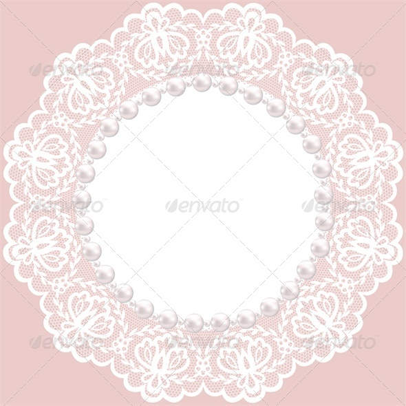 GraphicRiver Vintage Card with Lace Doily and Pearls 4882240