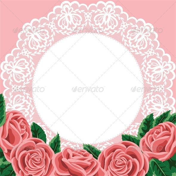 GraphicRiver Invitation Greeting Card with Lace and Roses 4882241
