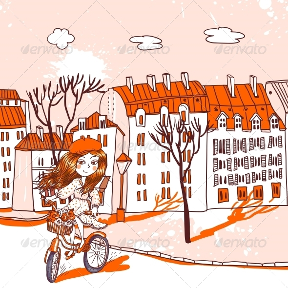 GraphicRiver Pretty Girl with Bicycle 4882247