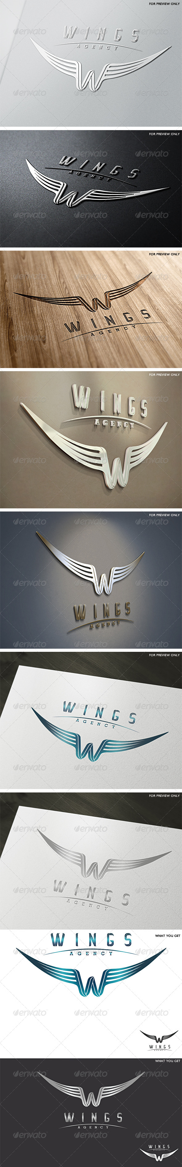 Wings Agency Letter W Logo Template - Letters Logo Templates