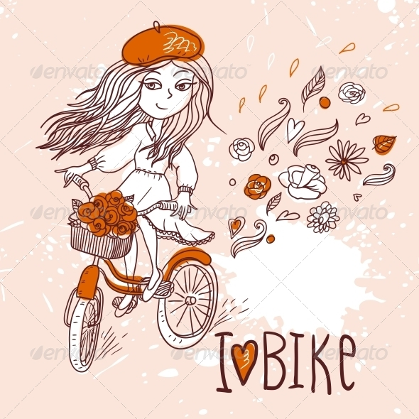 GraphicRiver Girl with Bicycle 4882356