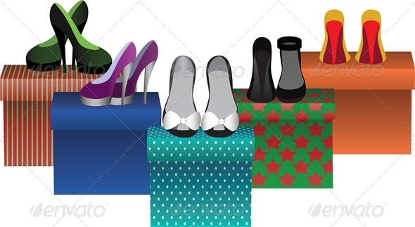 GraphicRiver Box with Woman Shoes in Store 4882383
