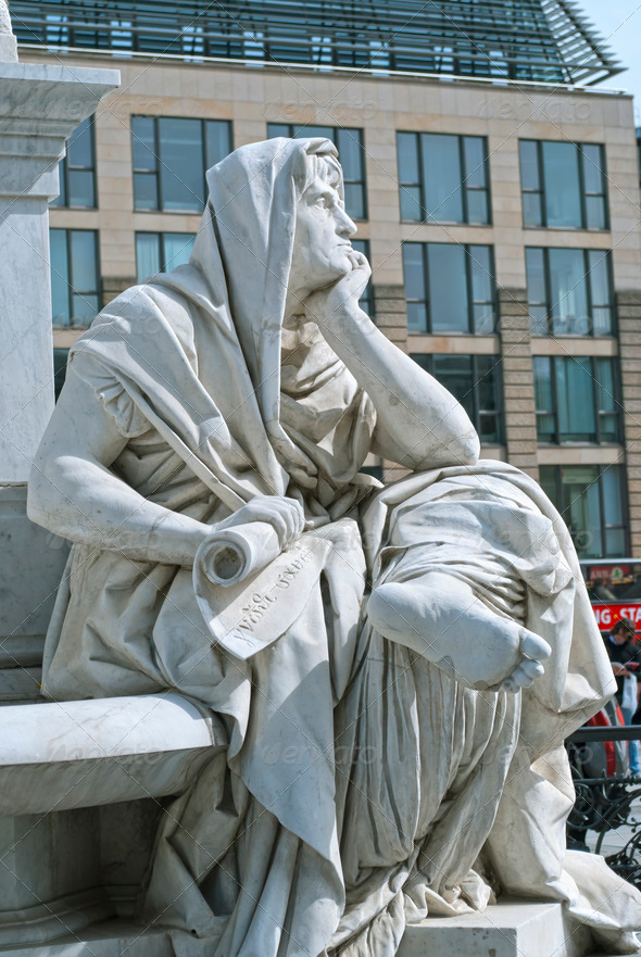 Allegory of Philosophy of Schiller Monument in Berlin - Stock Photo - Images