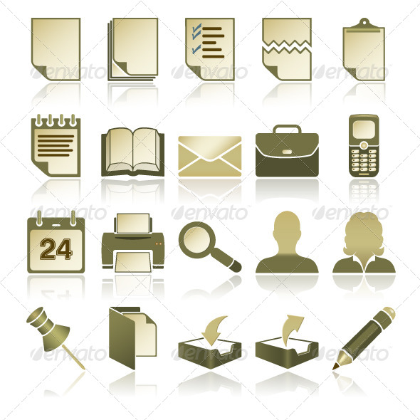 GraphicRiver Green Office Icons Set 4883738