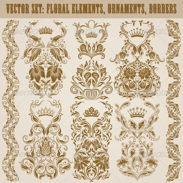 GraphicRiver Set of Vector Damask Ornaments 4883751