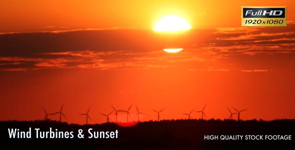 Wind Turbines & Sunset 2-Pack