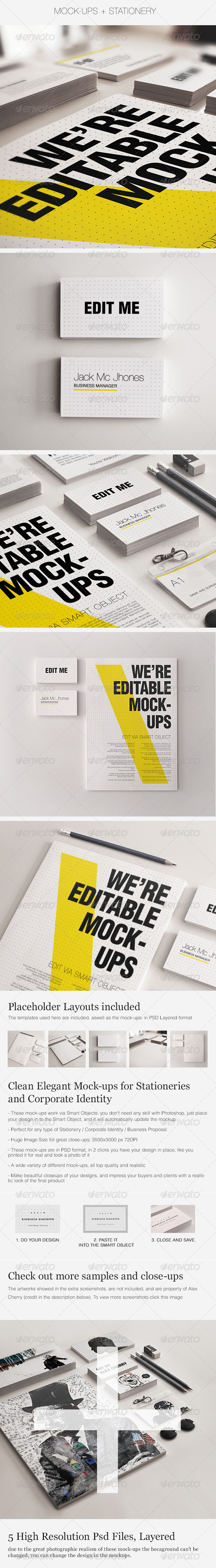 GraphicRiver Realistic Stationery Mockups Set 3- Corporate ID 4884786