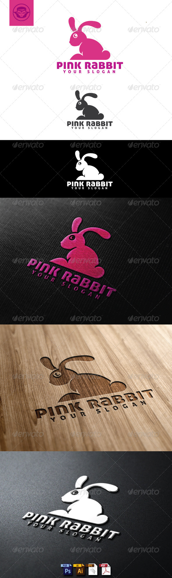 GraphicRiver Pink Rabbit Logo Template 4884802