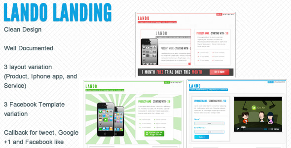 Lando landing page with facebook template - The image for the description page