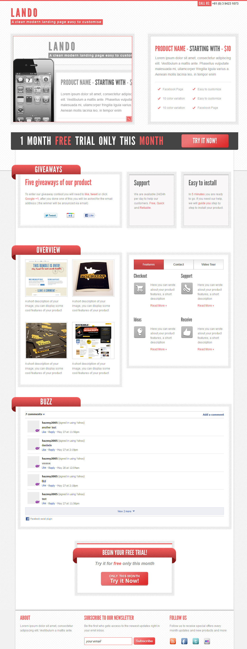 Lando landing page with facebook template - Product layout with social share and facebook comments