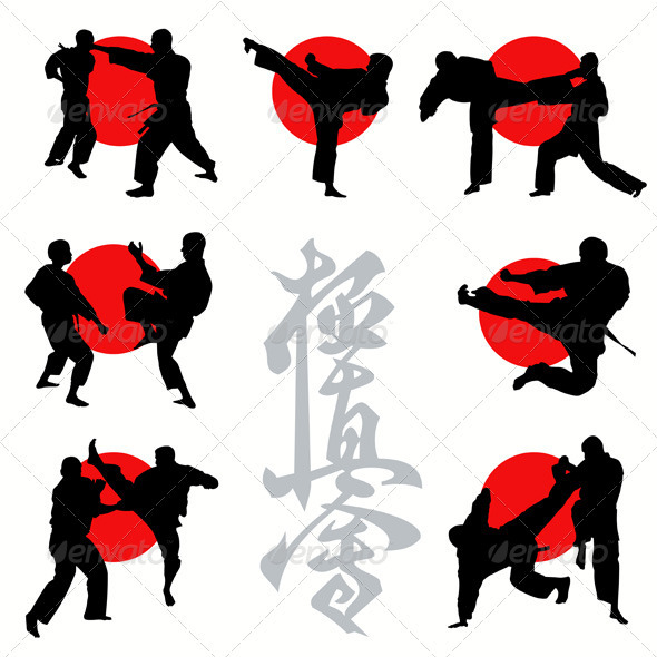 GraphicRiver Kyokushin Karate Silhouettes Set 504936