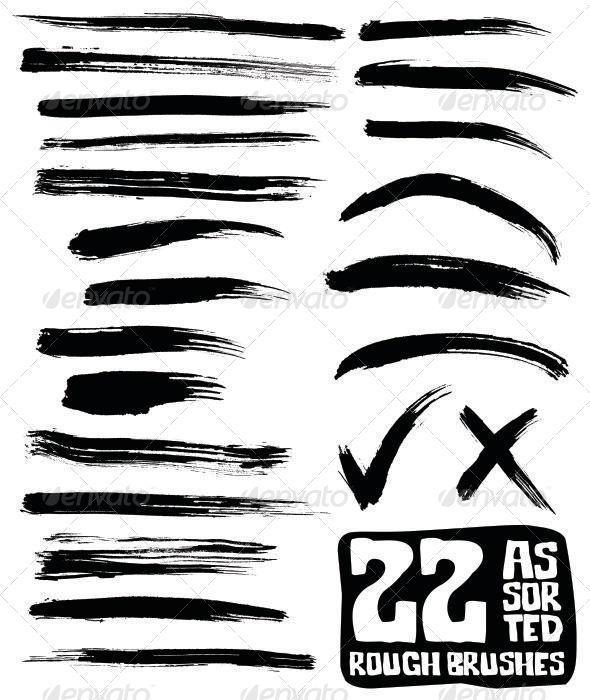 GraphicRiver 22 Assorted Rough Brushes 4872301