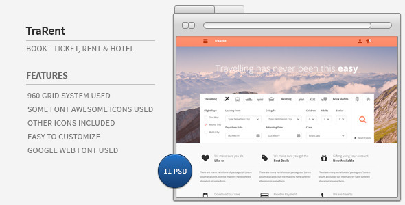 ThemeForest TraRent- Travelling Renting Hotel Booking Theme 4860254