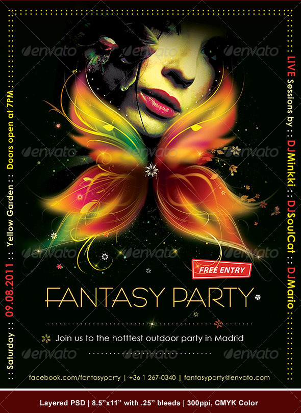 Fantasy Party Poster/Flyer - Clubs & Parties Events
