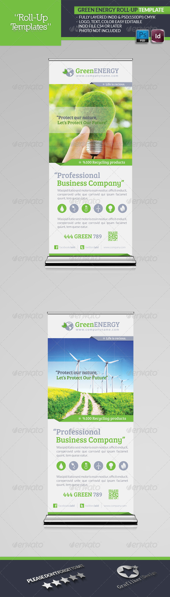 GraphicRiver Green Energy Roll-Up Template 4887252