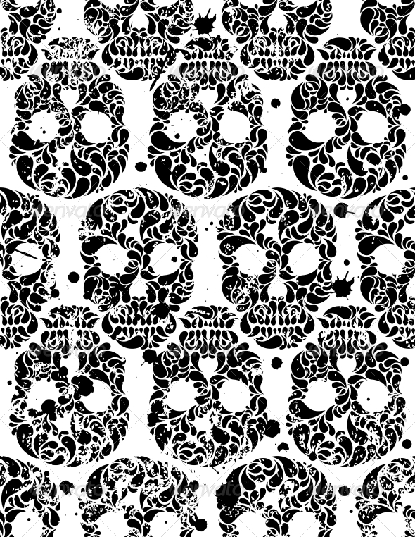 GraphicRiver Seamless Pattern with Skulls 4887818