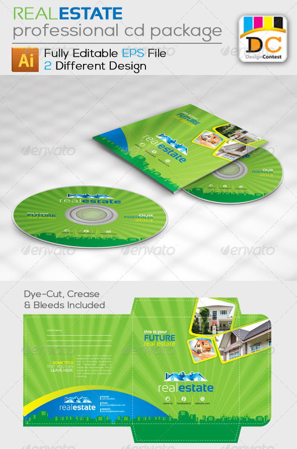 GraphicRiver Real Estate CD Sleeve Label & Sticker 4888685