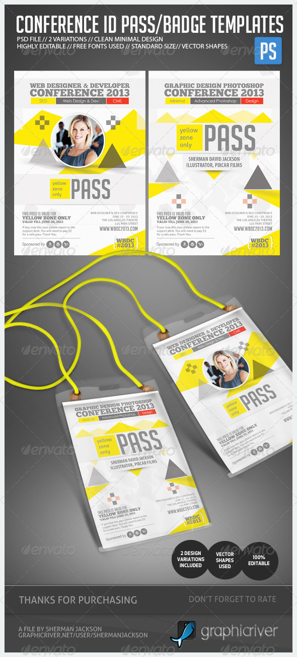 GraphicRiver Conference Expo & Corporate Pass ID Badge 4888884
