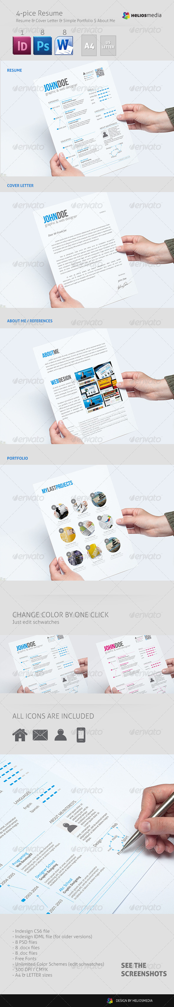 GraphicRiver 4-pice Professional Resume 4817193