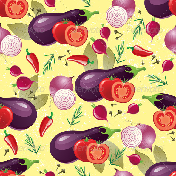 GraphicRiver Violet Vegetables Seamless 4891800