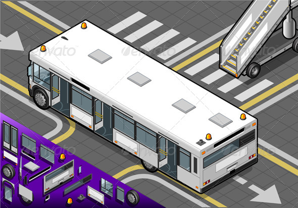 GraphicRiver Isometric Airport Bus in Rear View 4892179