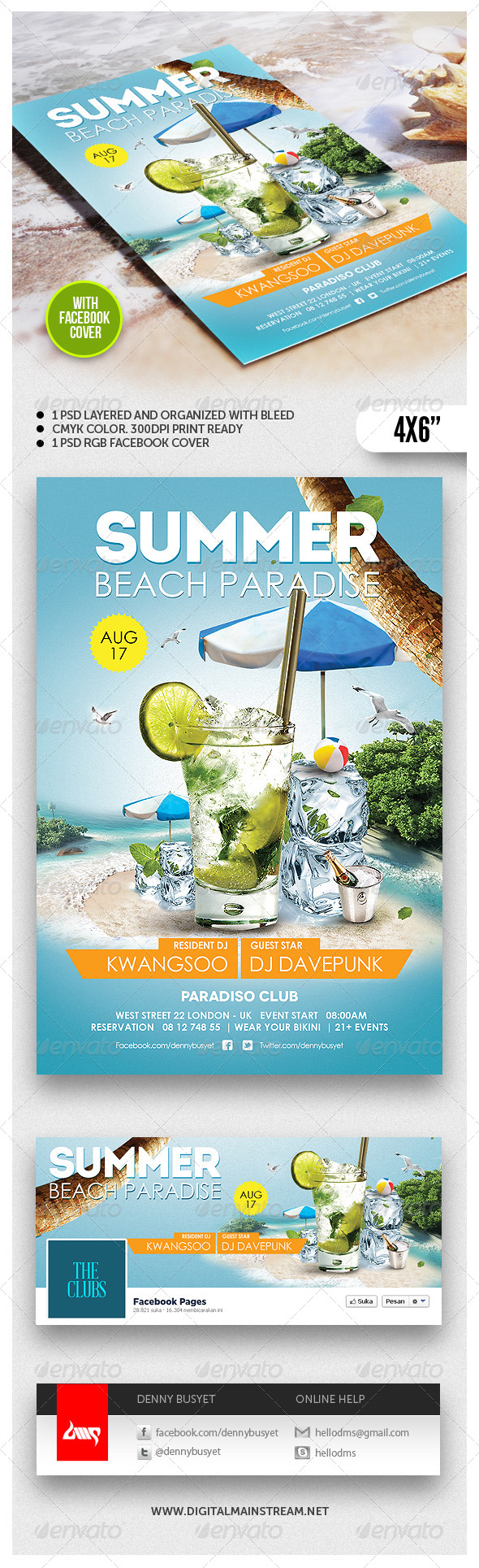 GraphicRiver Summer Beach Paradise Flyer Template 4827004