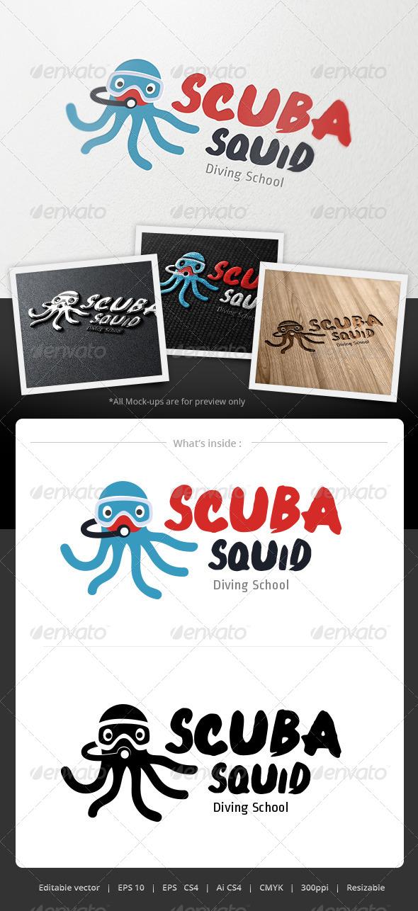 GraphicRiver Scuba Squid Logo 4893654