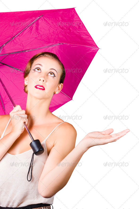 Woman with umbrella - Stock Photo - Images