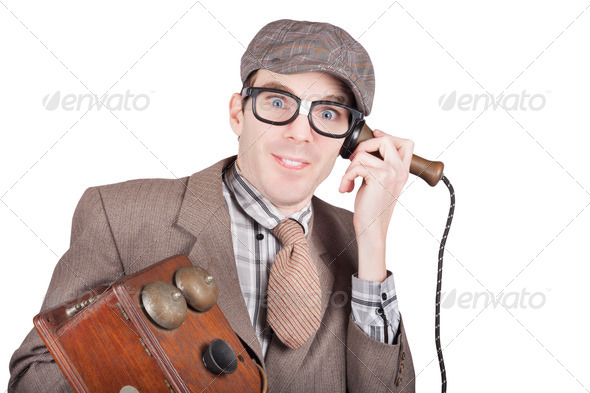 Nerd businessman on a funny phone communication - Stock Photo - Images