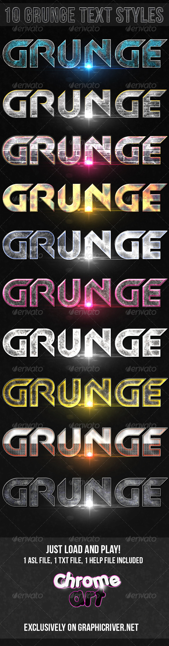 GraphicRiver 10 Grunge Text Styles 4896320