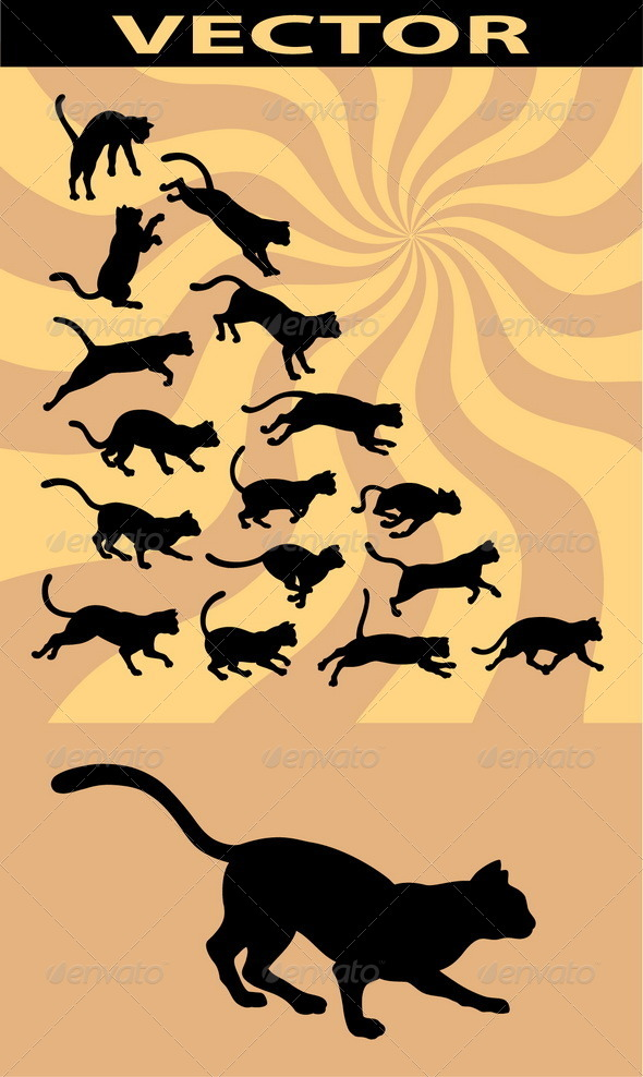 GraphicRiver Cat Running Silhouettes 4896400