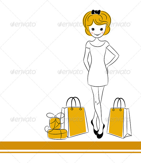 Pretty Blond Girl with Sales Bags