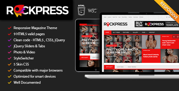 ThemeForest Rockpress Responsive Magazine HTML5 Template 4872044
