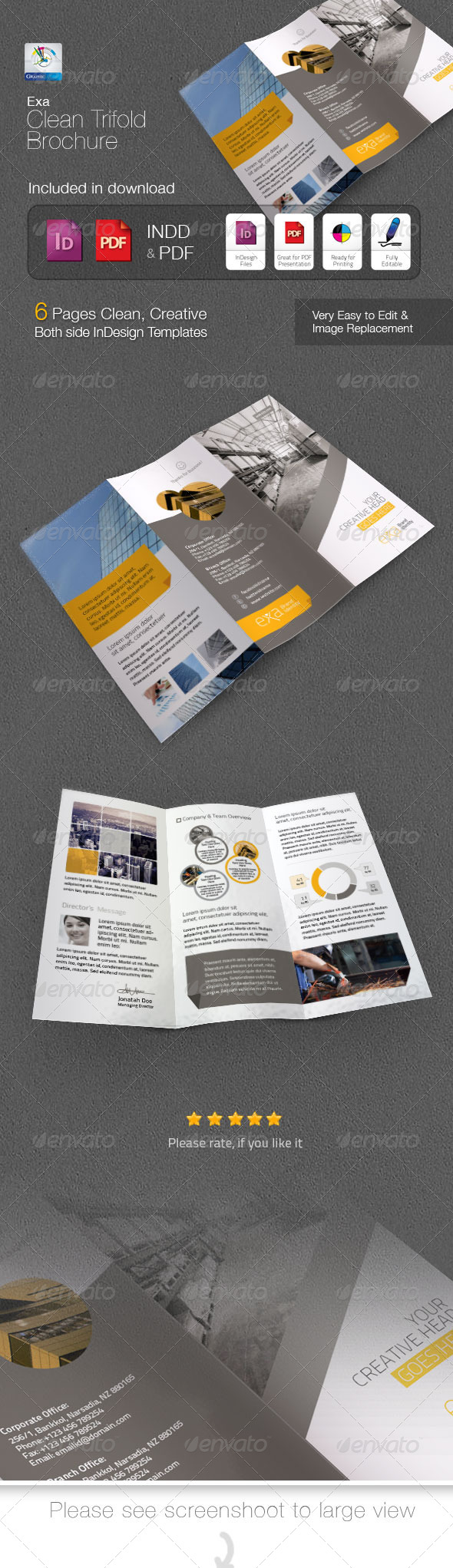 GraphicRiver Exa Clean Trifold Brochure 4899485