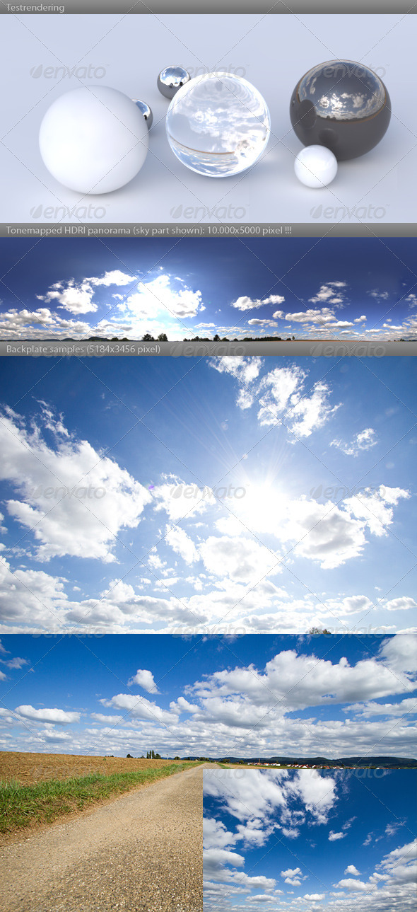 3DOcean HDRI spherical sky panorama 1547- sun clouds 507088