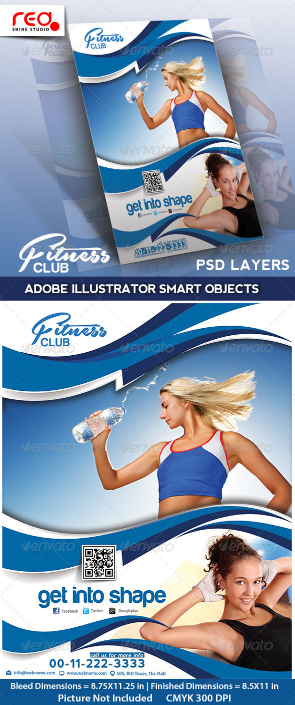 GraphicRiver Fitness Club Flyer Poster & Magzine Template 4722552